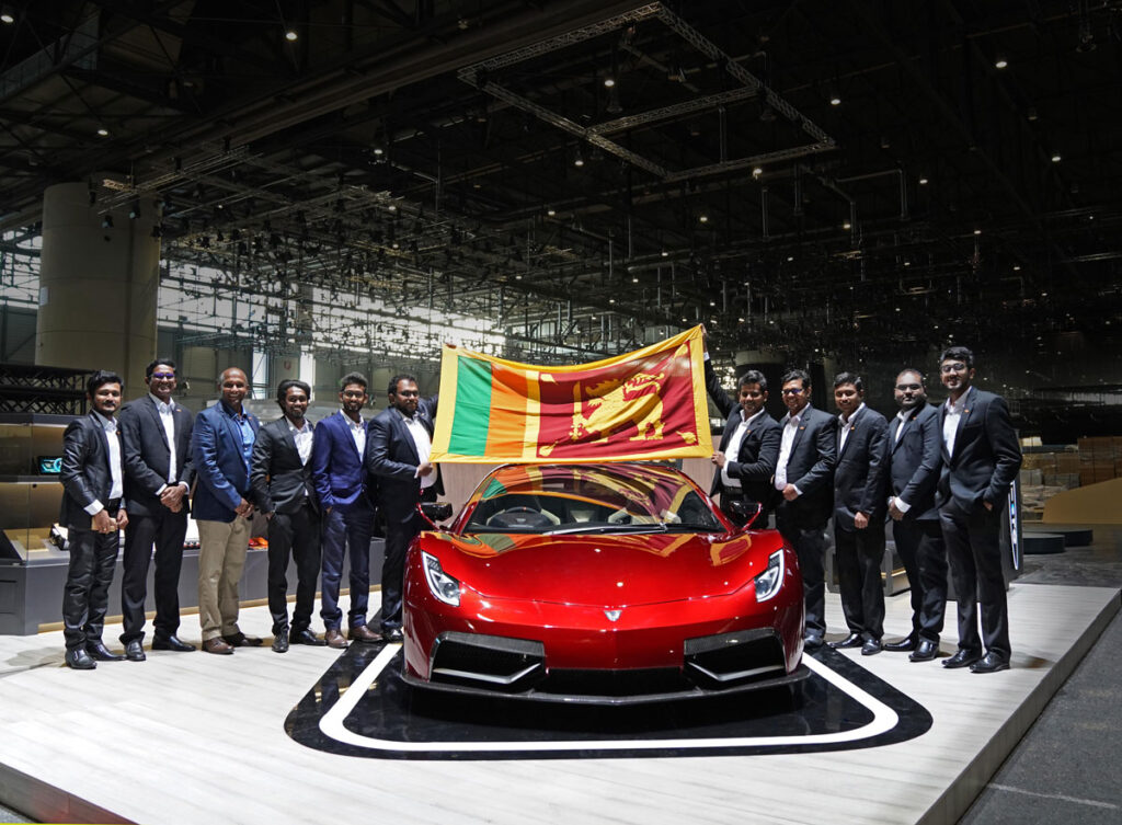 Vega EVX team representing Sri Lanka at the Geneva International Motor Show 2020